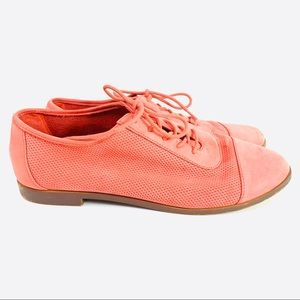 Aldo Lace Up Shoes Leather Pink Salmon Size 8.5